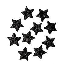 Glitter star svart 2,5 cm 100st
