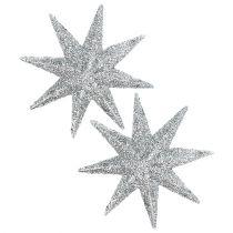Glitter star silver Ø10cm 12st