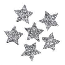 Glitter star silver Ø2,5cm 48p