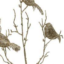 Glittergren med fåglar 75cm guld