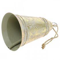 Julklocka att hänga, advent, klocka med gran dekoration gyllene antikt utseende Ø10,5cm H17cm