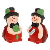 Lucky charm keramisk skalbagge 6 cm röd 12st