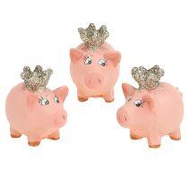 Lucky gris rosa med krona 4cm 6st