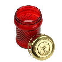 Glas gravstearinljus röd Ø6cm H11cm 12st