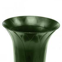 Gravvas 42cm mörkgrön vas gravdekoration begravningsblommor 5st