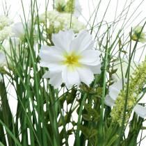 Dekorativt gräs med Cosmea-blommor i en skål H45cm