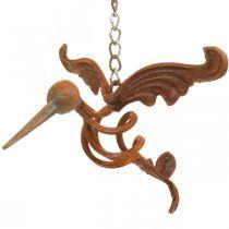 Kolibri trädgårdsdekoration rostfritt stål fågel för hängning 24 × 19 cm