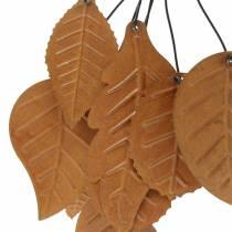 Dekorativ hängare höstlöv patina metall H25cm 2st