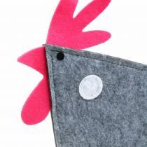 Dekorativ kran gjord av filt med prickar grå, vit, rosa 57 cm x 7 cm H58,5 cm fönsterdekoration