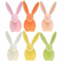 Kanin flockade pastellfärger H13cm 6st