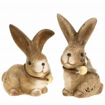 Dekorativa figurer kaniner med fjäder- och träpärlbrun blandade 7cm x 4,9 cm H 10cm 2st
