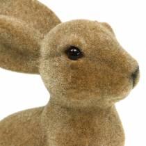 Påsk dekoration kanin sitter flockad brun H19cm 2st