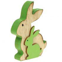Dekorativ träkanin med barn 9 cm blandade färger 6st