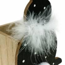 Bunny planter box box fjäder boa svart, vit prickad trä påskhare