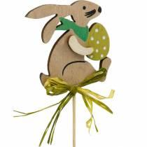 Kanin med påskägg på pinne, påskkaninblommapropp, påskträdekoration, dekorplugg, blomdekoration 12st