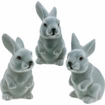 Påskharen sitter upprätt, dekorationsfigur kanin flockas, påskdekoration 3st