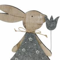Dekorativ figur träkanin filt 30 / 31,5 cm 2st
