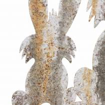 Påskgarneringskanin med barn som sticker rostbjörk lookmetall 25 × 32cm
