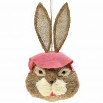 Påsk dekoration kaninhuvud för hängande halm H51cm