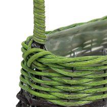 Handtag korg oval 23 cm x 12 cm H16cm grönbrun