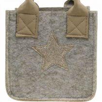 Dekorativ väska av filt juldekoration beige 20 / 16cm uppsättning med 2 st