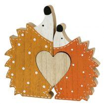 Höstdekorations igelkottpar med hjärta 15cm - 18cm