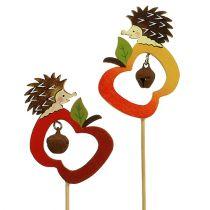 höstdekoration med pinne Hedgehog med Apple 7cm 12st