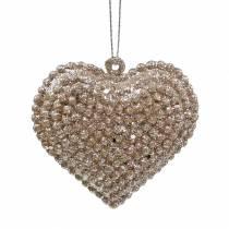 Glitter hjärta för att hänga champagne 6cm x 6,5 cm 12st