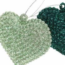 Glitter hjärtuppsättning att hänga smaragd, isblå 6cm x 6,5 cm 12st