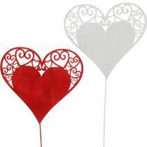 Hjärta på pinnen, dekorativt plugghjärta, bröllopsdekoration, Alla hjärtans dag, hjärtdekoration 16st