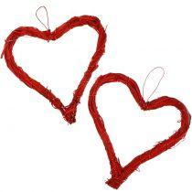 Raffia hjärta att hänga rött 15cm 8st