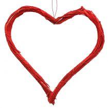 Raffia hjärta att hänga rött 20cm 6st