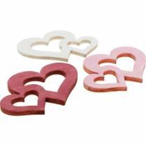 Trähjärtor, gåvor för bordsdekorationer, Alla hjärtans dag, bröllopsdekorationer, dubbelt hjärta 72st