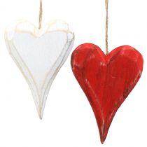 Trähjärtan för att hänga röda, vita 11,5 cm 4st