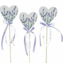 Lavendelhjärta, sommardekoration, hjärta att klibba med lavendel, Medelhavshjärta dekoration 6st