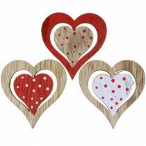 Hjärtrött, vitt, naturligt trä 4,5x4,5cm 24st