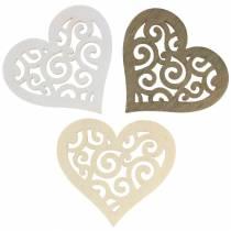 Borddekoration hjärta trävit, kräm, brun 4cm 72p