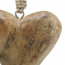 Hjärta att hänga mango natur, gyllene 14 × 11cm 2st