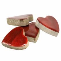 Hjärtat av mangoträ glaserat naturligt, rött 4,3 cm × 4,6 cm 16 st