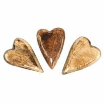 Mango trä hjärtan glaserade naturliga 6,2–6,6cm × 4,2–4,7cm 16st