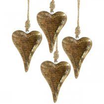 Trähjärtor med gulddekor, mangoträ, dekorativa hängen 10cm × 7cm 8st