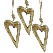 Deco hjärta, mango trä guld effekt, trä dekoration att hänga 13,5 cm × 7 cm 4 st