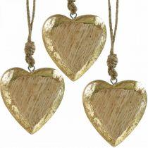 Hjärtan att hänga, mangoträ, trädekoration med guldeffekt 8,5 cm × 8 cm 6 st