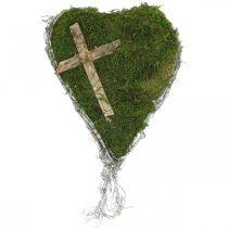 Grava dekoration hjärta vinstockar, mossa med kors för gravupplägg 30 × 20cm