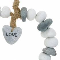 """Hjärta att hänga """"Love"""" gjord av flodstenar Natur, grå / vit Ø18cm 1 st"""