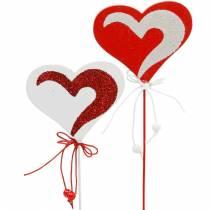 Hjärta på pinnen röd, vit Dekoherz Dekostecker Alla hjärtans dag 16st