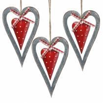 Dekorativt hjärta för att hänga metall röd, silver Ø8,8 H15cm 3st