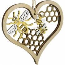 Dekorativa hjärtbin gul, gyllene trähjärta för hängande sommardekoration 6st
