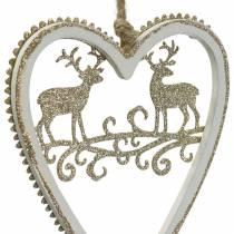 Hjärtan att hänga med inläggsträ, vit plast, guld, Ø9,2cm H12cm 4st