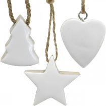Julgransdekorationer träblandning hjärta stjärna gran vit, natur 5cm 27p